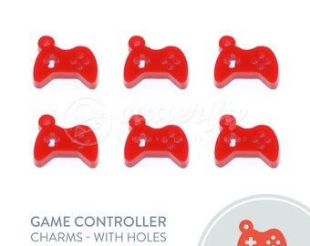 6x Game Controller Charms with Holes   Kawaii Game Controller Decoden   Kawaii Game Controller Cabochon