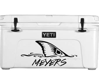 Redfish Tail Decal FOR YETI Cooler or Similar - Custom Text Included