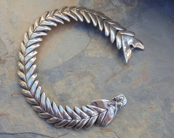D'Molina ~ Mexican Sterling Silver Articulated Fish Bones Bracelet - 46 Grams