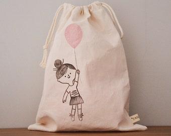 drawstring bag // cotton // hand-printed