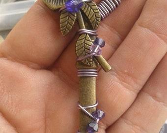 Purple Rose Heart Key