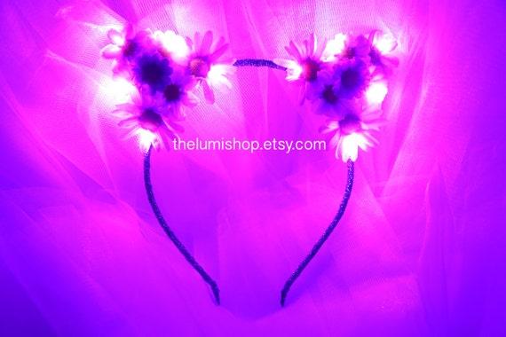 Purple Led Light Up Flower Cat Earsfloral Cat Earskitty