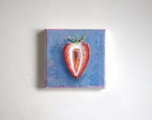 original strawberry painting, food painting, tiny painting, small painting, 4x4 painting, acrylics on canvas, kitchen decor