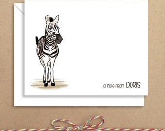 Zebra Note Cards - Folded Note Cards - Personalized Children's Stationery - Thank You Notes - Illustrated Note Cards