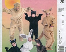 Childs Animal Costume Pattern McCalls M6106 Bunny Bear Cat Lion Kangaroo Child Size 6 7 8  UNCUT