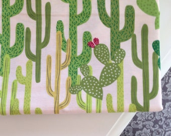 Cactus flannel fitted crib sheet