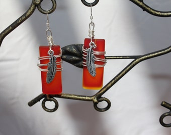 Red recycled glass with feather charm earrings