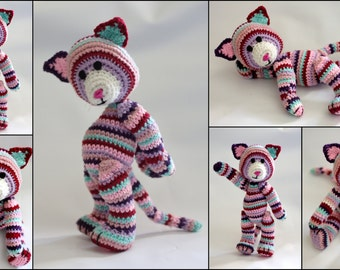 Lily the cat crochet stuffed toy knitted plushie soft toy
