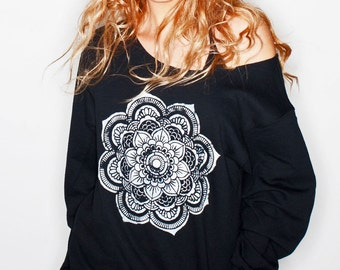 Mandala T Shirt • Yoga Sweatshirt • Sacred Geometry Shirt • Yoga Top • Women's Yoga Gear « g180black «« (ots, ss) «