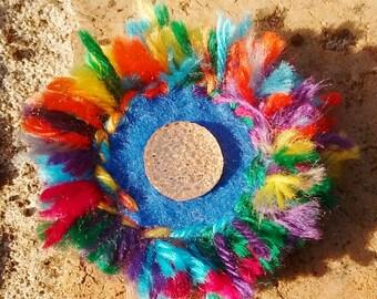 Rainbow Daisy sewn wearable art flower brooch