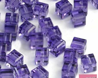 10x Swarovski Crystal 5601 Cube Bead Tanzanite 4mm Purple GREAT VALUE!