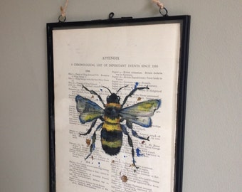 Bee watercolour painting print, bumble bee, Puddle Paints, bumble bee, vintage book page, dictionary print, watercolour print, industrial
