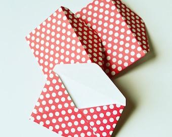 Mini Red Polkadot Envelopes - Red Polkadot Gift Card Envelopes - Red Envelopes - Gift Card Envelopes - Minnie Mouse Envelopes