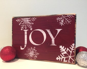 Rustic Handmade JOY Wood Sign with Snowflakes