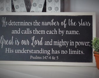Psalms 147 Wood Sign Wooden Scripture Sign Bible Verse Word Art Hand Painted DIstressed Sign Great is the Lord