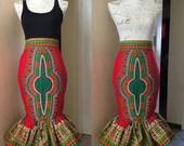 Dashiki midi skirt with peplum frill hem, Angelina maxi skirt, African print maxi skirt, African Clothing, African skirts, African fashion