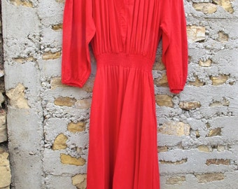 Vintage 1970s New Hero Red Cotton Maxi Dress - Size M