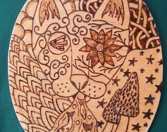 Psychedelic cat plaque (wood burned pyrography)