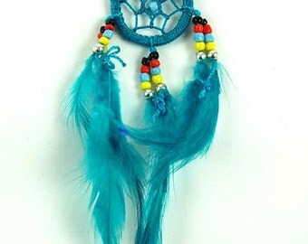 Teal Feathered Dream Catcher Necklace