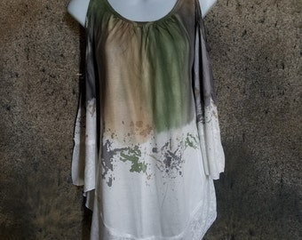 Lace Blouse With Dripping Water Colors (Green, Brown, Purple)