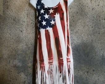 Water Colored American Flag Top w/ Fringes