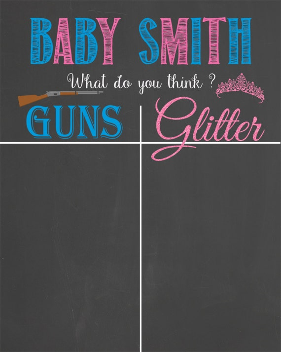 guns or glitter gender reveal guest voting by lalaexpressions