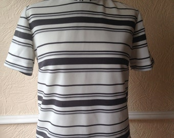 Vintage 60s top, retro crimplene fabric, stripe t.shirt, mod scooter style, large size, turtleneck, mad men