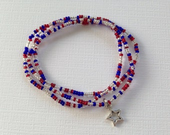 Red White and Blue Bracelet, Patriotic Bracelet, American Flag, Patriotic Jewelry, Stars and Stripes, Red White and Blue Jewelry