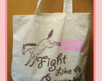 """Breast Cancer Tote """"Fight Like a Cowgirl"""""""