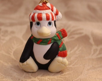 Vintage Collectible Penguin Christmas Ornament Scarf and Hat blue Eues
