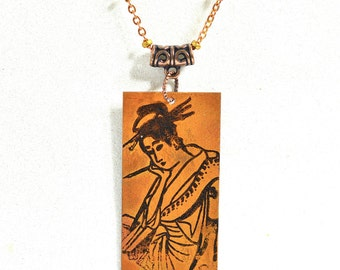 Copper Geisha Necklace, Hand-Painted Geisha, Copper Jewelry, Patina Jewelry, Geisha Jewelry, Geisha Gift, Large copper pendant, mixed metal