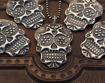 Day of The Dead Necklace, Silver Sugar Skull Pendant