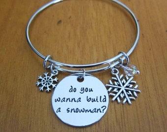 "Frozen Snowman Bangle Bracelet. ""Do you wanna build a snowman?"". Charm Bracelet. Swarovski elements crystals. Hand Stamped jewelry."