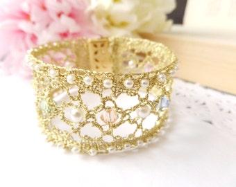 Gold Bridal Cuff Bracelet Crystal Wedding Jewelry Pearl Bridal Cuffs Swarovski Wedding Cuff Lace Gold Cuff Bracelet Bridal Wedding Bracelets