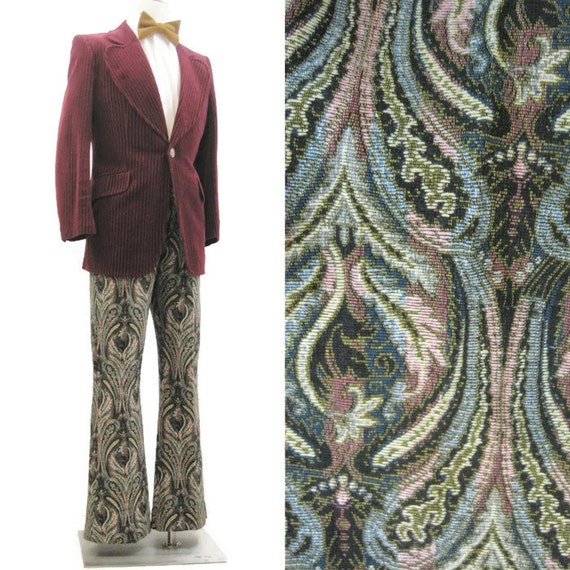 Vintage 60s Pants Rare Hippie Glam Rock Star Tapestry Brocade Bell Bottom 34