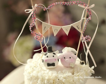 pig and cow wedding cake topper