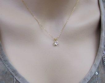 Gold White Topaz Pendant, Topaz Layering Necklace, 14K Gold Filled Necklace, 6mm White Topaz Gemstone, Brazil Topaz Jewelry, Petite Necklace