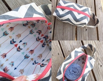 Knitting Project Bag, Boxy Bag, Chevron and Arrows