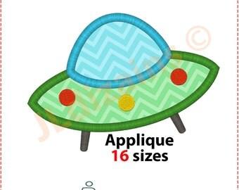 Flying Saucer Applique Design. Flying saucer embroidery design. UFO applique design. UFO embroidery design. Machine embroidery design