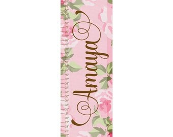 Shabby Chic Roses Personalized Canvas Growth Chart for Kids & Babies - Roses Growth Chart - Shabby Chic room Wall Art