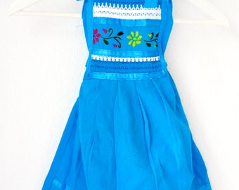 3-4 yrs. Mexican girl dress, blue mexican embroidered girl dress, cotton girls dress, summer dress