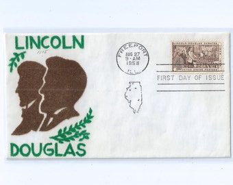 4c Lincoln Douglas Debates Stamp on Velvatone First Day Issue Cachet freeport Ill 1958