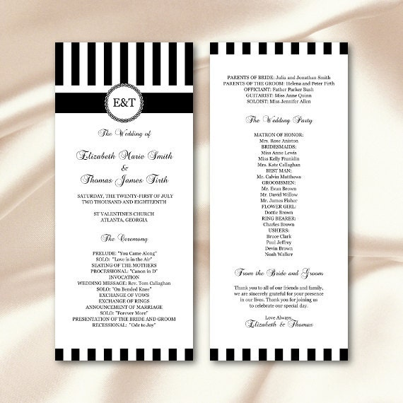 10 Celebrity Wedding Details You Can Totally Copy On A: Black White Wedding Programs Template Striped Monogram