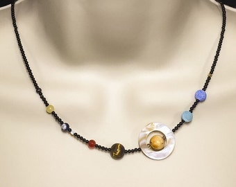 Solar System necklace - onyx, tigers eye, jasper, sodalite, moonstone, topaz, hematite, shell - Planets, Sun, Moon, Mars, Venus, Pluto