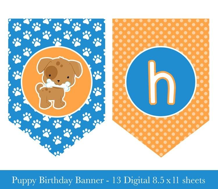 Puppy Birthday Banner Puppy Banner Puppy Party Printable