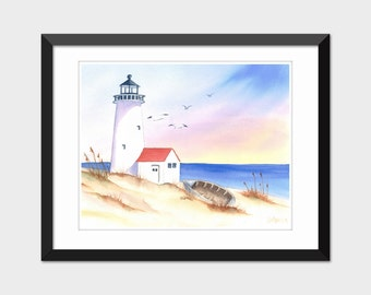 Printable Watercolor Lighthouse Seascape Painting Coastal Wall Art Home Decor Instant Download Print