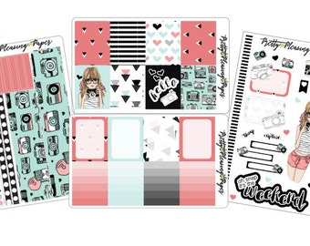 Oh Snap Camera Girl Sticker Sheet for Planners and Scrapbooks