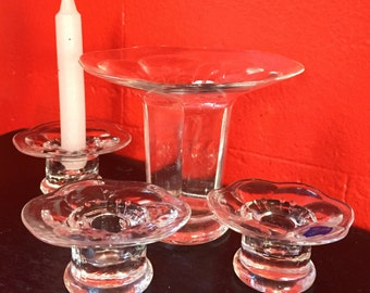 Finnish class vase and 3 candle holders!