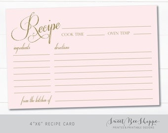 Recipe Card for Bridal Shower (INSTANT DOWNLOAD!) Bridal Shower Insert Recipe Card, Download and Print It Yourself!