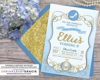 Cinderella Royal Ball Birthday Party Invitation with Free Shipping or DIY Printable